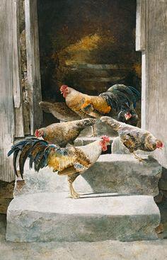 Henrietta's Hen House, Herburt Shuptrine #shuptrine #americanart #artauctionrecords #landscape #appalachia #chickens