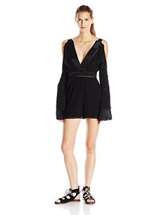 findersKEEPERS Women's Unravel Playsuit, Black, X-Small