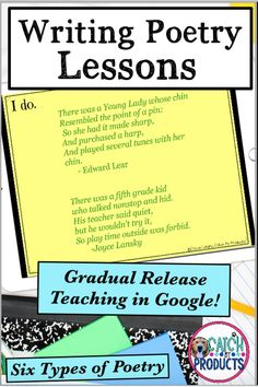 Teach poetry writing to your 4th grade, 5th grade, or 6th grade students with this Google Slide activity on Teachers Pay Teachers. Teaching and writing is fun w/ gradual release lesson plans for kids. Use in language arts class for elementary school or middle school. Easy to understand. Great for whole group, small group, centers, home school, or distance learning. Core standard curriculum instruction #teacherspayteachers #TpT #TEACHers #iteach345 #teachersfollowteachers Teachers Pay Teacher Teaching Poetry, Writing Poetry, Teaching Writing, Teaching Resources, Upper Elementary Resources, Poetry Lessons, Lessons For Kids, Writing Workshop, Writing Prompts