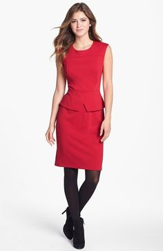 Calvin Klein Cap Sleeve Peplum Sheath Dress (Online Only) available at #Nordstrom  I don't care for the black tights.