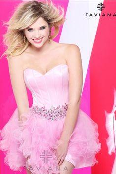 Ashley Benson for Faviana. Cute pink corseted dress!