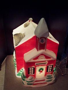 Empire Blow Mold Vintage Christmas Schoolhouse Lights Up Very Good Yard Decor | eBay