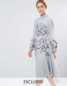 Hope and Ivy Hope & Ivy High Neck Embroidered Midi Dress