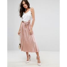 ASOS Satin Pleated Midi Skirt with Belt (£35) ❤ liked on Polyvore featuring skirts, pink, midi skirts, pink skirt, prom skirt, high-waist skirt and tie belt