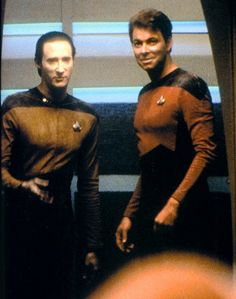 Brent Spiner and Jonathan Frakes, having fun filming Encounter at Farpoint, pilot episode of TNG, 1987.