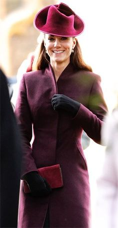 Catherine, Duchess of Cambridge, at Christmas service...one of my favorite colors on her!
