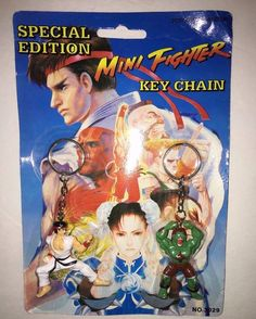 Vtg Capcom STREET FIGHTER II MINI Fighter RYU & BLANKA Key Shain Set Free S/H