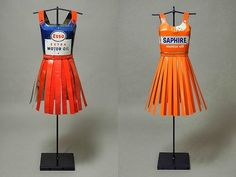 Sculptural Dresses from Vintage Oil Cans