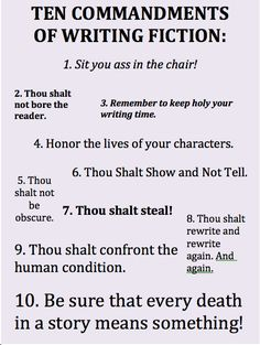 You know, I'm no expert, but I think the ten commandments of writing fiction should at least be grammatically correct.