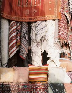 Textiles in the souk, Morocco