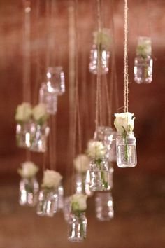 Hanging glasses  with ligths and roses! Best idea for every wedding... :) www.enchantee.hu