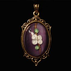 Shimmery Satin Glass Paperweight New Pendant w/ Vintage by ViaVera, $12.99