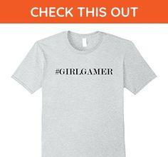 Mens Awesome #GIRLGAMER hashtag girl gamer (gift gaming night)   Small Heather Grey - Gamer shirts (*Amazon Partner-Link)