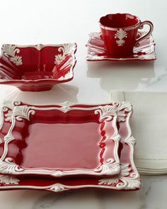 12-Piece Red Square Baroque Dinnerware Service - Horchow