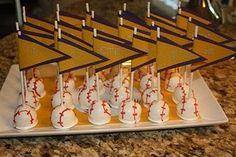 Baseball cakepops upsidedown with pennant