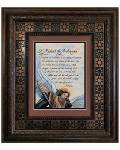 The prayer to St. Michael print is framed and matted in rusty brown and black. It's surrounded by a decorative brown embossed frame protected by glass, dust cover and a wire on the back. It's ready to hang and reflect on for many years.  A perfect gift for so many occasions like Father's Day, House Warming, Confirmation, RCIA, Co Workers, Birthdays, Mother's Day and Christmas. This powerful Prayer to Saint Michael is a great reminder of his awesome power to protect us and trust in his…