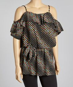 Another great find on #zulily! Black & Red Dots Top - Plus by Yummy #zulilyfinds