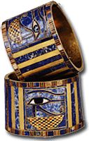 Protective eyes of Horus adorn bracelets found on Pharaoh Sheshonq II's mummy, but engraved names indicate they were made for Sheshonq I, who is mentioned in the Bible. (Araldo de Luca)