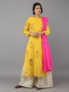 Yellow Cream Pink Foil Printed Suit- Set of 3