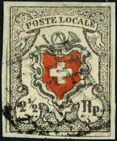 "Switzerland 1850, 2½ Rp. gray black / dark orange red ""Poste locale"", type 28, with scarce Geneva-based lozenge rombus on piece, at two points touched l..."