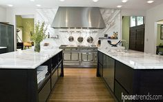 Kitchen islands offer a clean look