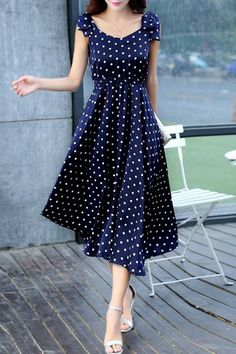 Sweet Sleeveless Scoop Neck Bowknot Design Polka Dot Dress For Women