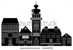 Black and white silhouette of the historic town with ancient baroque houses and tower