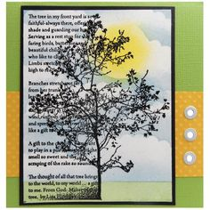 This pretty card by Kristine Reynolds features the Tree Poem image from Stampendous. Tree Poem, House Mouse Stamps, Circle Punch, Square Card, Card Tutorials, Distress Ink, Stamping Up, Beautiful Children, Birthday Cards