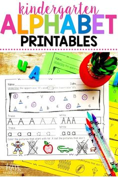 These fun printable alphabet practice activities will help promote learning in preschool and kindergarten age students! They will practice their handwriting and work on identifying objects that start with the letter. #alphabetpractice #handwriting