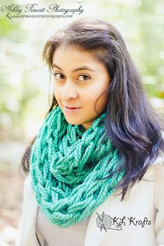 Spearmint Chunky Arm Knit Infinity Scarf Arm Knitted by KimLKrafts