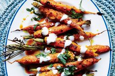 """""""Tandoori"""" Carrots with Vadouvan Spice and Yogurt – Bon Appetit. What's vadouvan, you ask? It's just one of our new favorite exotic spice blends, a French-Indian formula that includes onion, shallots, and garlic added to a currylike mix. Turmeric Recipes, Carrot Recipes, Vegetable Recipes, Vegetarian Recipes, Cooking Recipes, Healthy Recipes, Carrot Dishes, Cooking Grill, Top Recipes"""