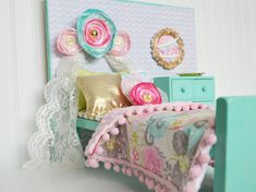 This bed was created for my daughters american girl doll and matches her own bedroom too :). This set was created with wood and beautiful fabrics. I