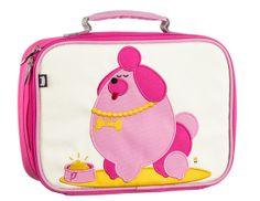 """Click here for more: Pocchari (Poodle Dog) on this Children's Lunch Box by Beatrix New York. Perfect for back to school, or as a gift for a Birthday or Christmas gift...These insulated lunch boxes are a playful way to keep tuna sandwiches and carrot sticks fresh until lunch time. Made with heavy-duty nylon and machine washable for kid-proof durability and easy cleaning. Back side has a name tag and a zipped pocket. Tested PVC Free, phthalate free, lead free & BPA free. (10 x 7.5 x 4"""")"""