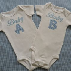 Twin Baby Boys Onesies Baby A and Baby B by mimilous on Etsy, $34.00