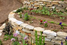 This is a newly constructed curving flagstone retaining wall and garden.