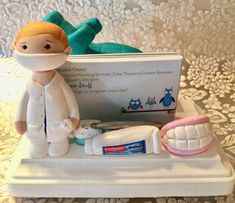 Polymer clay business card holder,dentist,tooth paste,tooth,mouthwash,handmade, custom oral surgeon,desktop business card holder,office by NaomisSweetStuff on Etsy