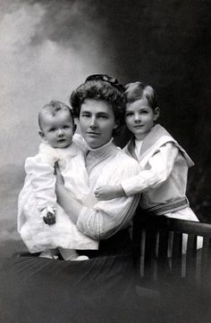 Here is portrait Lou Hoover with Allan and Herbert Jr. in London, England, 1908.
