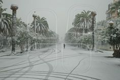 Incredible snow day in San Benedetto del Tronto. VIew of the central area snow covered