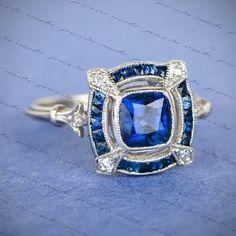 1.93ct Sapphire Blue Cushion Cut Art Deco Vintage Antique Engagement Silver Ring #JewelreMakes