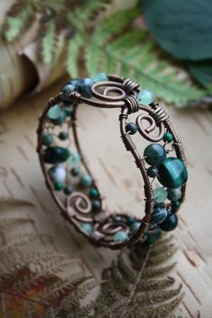 Items similar to Wire wrapped bracelet with natural malachite on Etsy. , via Etsy.