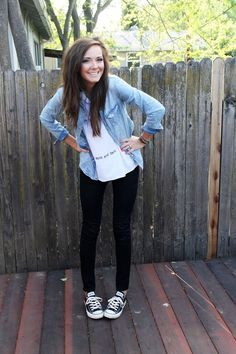 Black leggings, converse sneakers, white tee, denim chambray shirt.  Get the look with fleece lined leggings only $10.99.