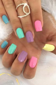 23 Colorful Nail Art Designs That Scream Summer – StayGlam Stylish Nails, Trendy Nails, Cute Nails, Smart Nails, Neon Nails, Pastel Nails, Rainbow Nails, Purple Nails, Colorful Nail Art
