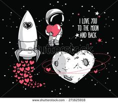 set of cute hand drawn elements for valentine's day design: heart formed planet in retro style, astronaut with heart and rocket, cosmic vector illustration