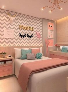 Girl bedroom designs - 168 cute teenage girl bedroom ideas 15 Hometwit com Teenage Girl Bedroom Decor, Cute Bedroom Ideas, Room Ideas Bedroom, Girl Bedroom Designs, Teen Room Decor, Small Room Bedroom, Home Decor Bedroom, Teen Bedroom Colors, Girls Bedroom Ideas Teenagers