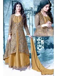 Fabulous Beige Grey and Golden Designer Anarkali Salwar Suit