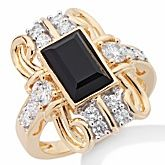 Xavier Absolute™ Faceted Black Onyx Victorian-Design Shield Ring