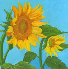 RK Ives Original Oil Painting : Sunflower, Garden, Flower #Realism