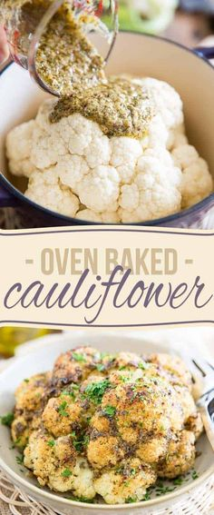 Oven Baked Whole Roasted Cauliflower is the easiest and tastiest way to prepare cauliflower. It'll make you an instant fan, guaranteed! This is the easiest and tastiest way to prepare cauliflower. It'll make you an instant fan, guaranteed! Oven Baked Cauliflower, Whole Roasted Cauliflower, Cauliflower Recipes, Vegetable Recipes, Vegetarian Recipes, Healthy Recipes, Diet Recipes, Fruit Recipes, Cauliflowers