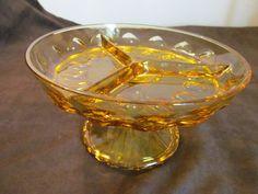 Amber Indiana Glass King's Crown Thumbprint relish amber vintage 3-way divided pedestal dish