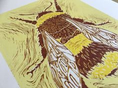 Case study of the endangered Moss carder Bumblebee which can fortunately be found in abundance in the unique nature reserves of Dungeness, Kent.  This is a 3 layer relief print made from a hand-carved block of linoleum and printed in a limited edition of 7 onto sheets of high quality, smooth print-making paper.  #linocut #printmaking #bee #bumblebee #dungeness #mosscarder #bombus #releif #nature